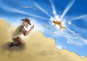 Em hãy kể tiếp truyện ông lão đánh cá và con cá vàng rồi kết thúc theo cách của em